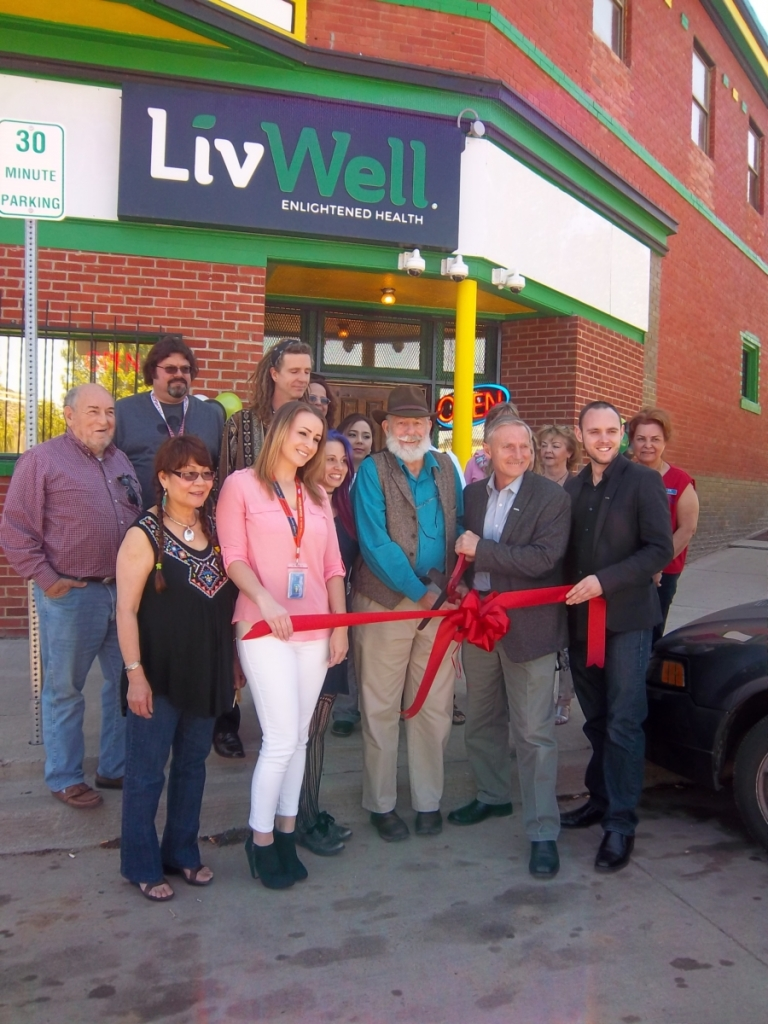 LivWell's ribbon cutting with the Trinidad Las Animas Chamber of Commerce was held on May 13.  Front row (LTR): is Linda Baron TLACC, Brooke Solano, Regional Manager, John Schecter TLACC, John Lord, Owner and Michael Lord, Director of Business Development. Photo by Joy Gipson.