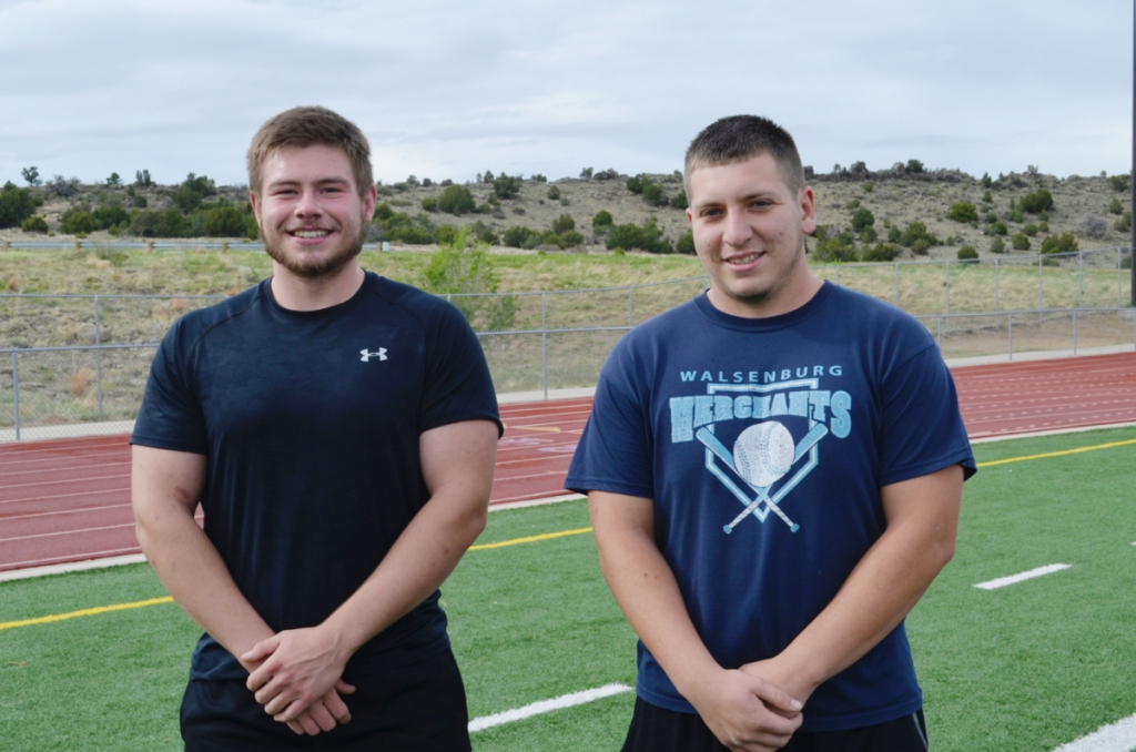 John Mall High School discus and shot put state qualifiers, Andrew Vigil and Garrett Quintana. Photo by David Tesitor.