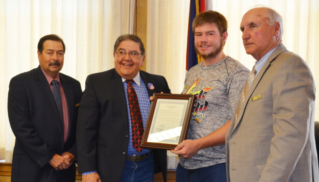 The Huerfano County Commissioners recognized Andrew Vigil of Walsenburg for his contributions both as an outstanding athlete and student. Vigil won second place at the Colorado State Track and Field meet in the discus and was Valedictorian of the John Mall High School Class of 2016.
