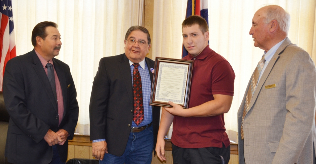 The Huerfano County Commissioners Tuesday recognized Garrett Quintana for his outstanding performance both as a track and field athlete, and as a student at John Mall High School.