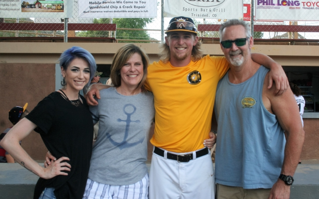 HAPPYFATHER'SDAY!  Trigger pitcher, Christian Schneider enjoys a Father's Day moment with his family who drive down from Denver to see him play.  Pictured are his sister, Sami, his Mom, Jenny, Schneider, and his Dad, Brian.