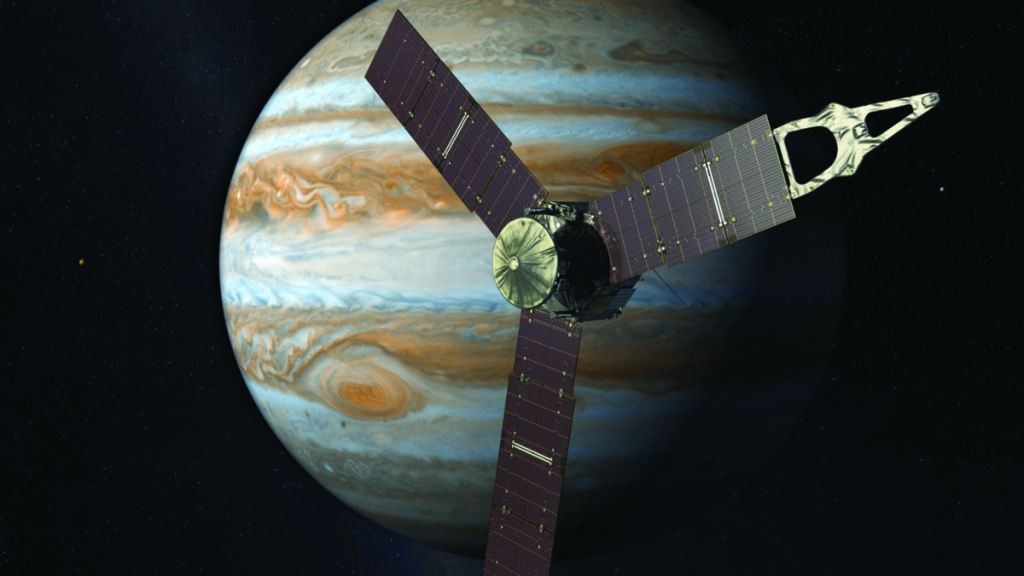 Depiction of the Juno probe and Jupiter. Photo from NASA's Jet Propulsion Laboratory.