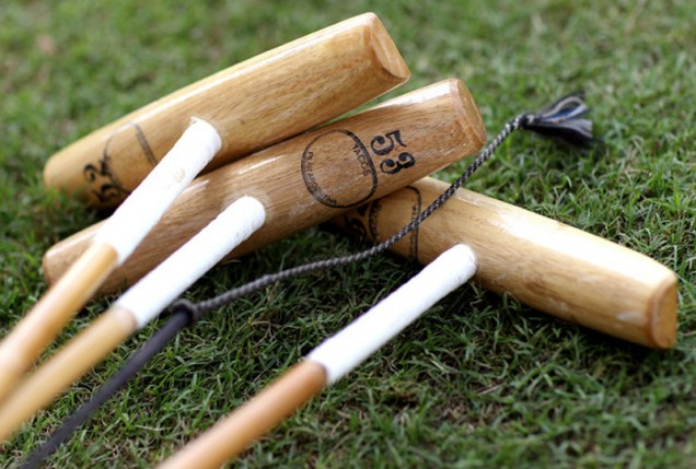 Regular polo mallets (above) and blunt ended pole (below)