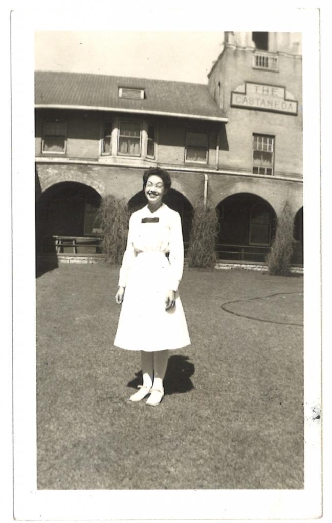 Nina Strong, Harvey Girl, age 18, in her crisp, white uniform in front of La Castaneda, circa 1941-1942.  Photo courtesy Nina Strong.